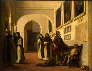 Colón y su hijo en La Rábida