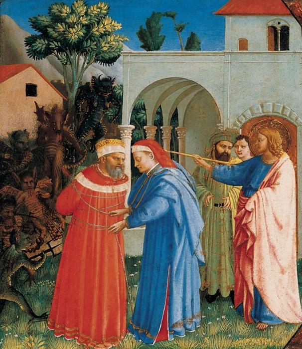 Wikioo.org - The Encyclopedia of Fine Arts - Painting, Artwork by Fra Angelico - El Apóstol Santiago liberando al Mago Hermógenes