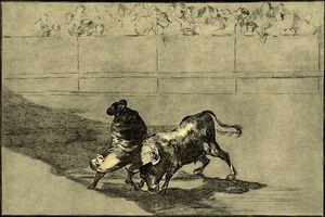 El diestrísimo estudiante de Falces, embozado burla al toro con sus quiebros