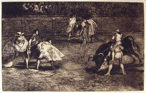 Torero montado sobre las espaldas de un chulo lanceando un toro