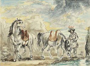 Cavalli che si abbeverano con cavaliere