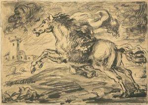 Cavallo fuggente con castello
