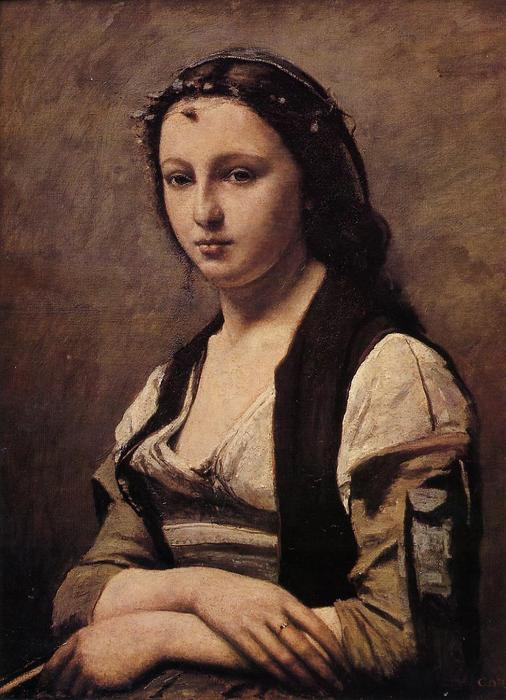 Wikioo.org - The Encyclopedia of Fine Arts - Painting, Artwork by Jean Baptiste Camille Corot - Woman with a Pearl 1