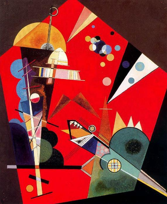 Wikioo.org - The Encyclopedia of Fine Arts - Painting, Artwork by Wassily Kandinsky - Tension in red