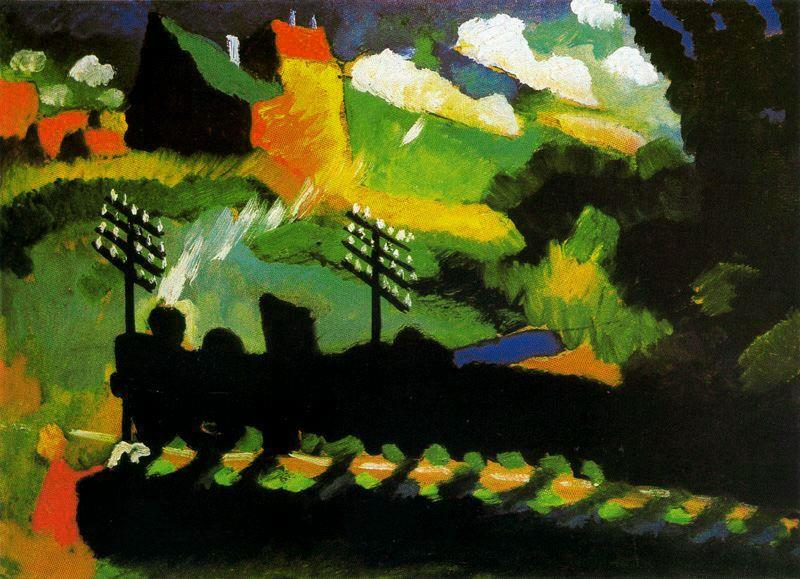 WikiOO.org - Encyclopedia of Fine Arts - Maleri, Artwork Wassily Kandinsky - View of Murnau with train and castel