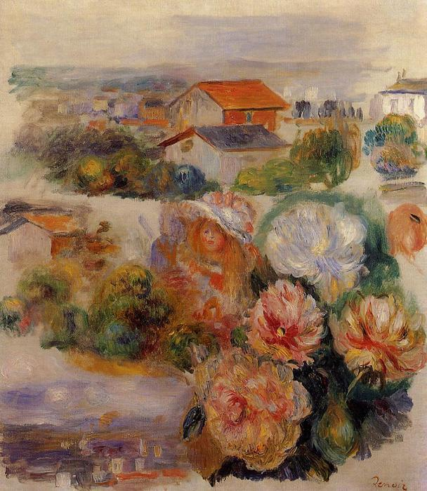Wikioo.org - The Encyclopedia of Fine Arts - Painting, Artwork by Pierre-Auguste Renoir - Landscape, Flowers and Little Girl