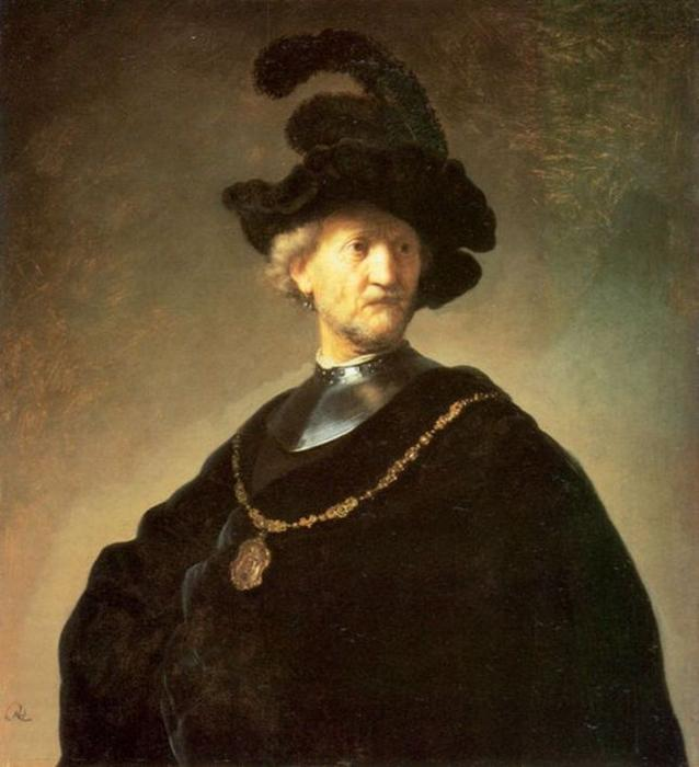 Wikioo.org - The Encyclopedia of Fine Arts - Painting, Artwork by Rembrandt Van Rijn - Older Man with a Black Beret