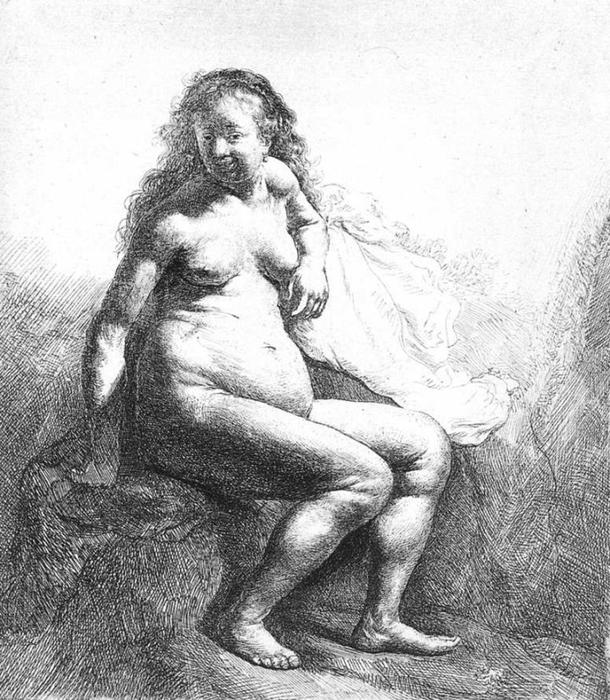 Wikioo.org - The Encyclopedia of Fine Arts - Painting, Artwork by Rembrandt Van Rijn - Seated Female Nude