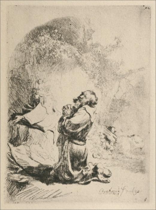WikiOO.org - Енциклопедія образотворчого мистецтва - Живопис, Картини  Rembrandt Van Rijn - St. Gerome Kneeling
