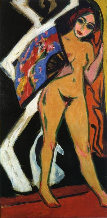 Wikioo.org - The Encyclopedia of Fine Arts - Painting, Artwork by Ernst Ludwig Kirchner - Dodo with Large Fan