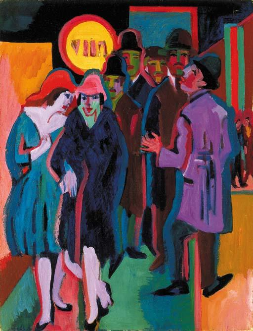 Wikioo.org - The Encyclopedia of Fine Arts - Painting, Artwork by Ernst Ludwig Kirchner - Nocturnal street scene