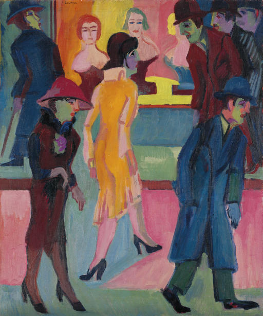 Wikioo.org - The Encyclopedia of Fine Arts - Painting, Artwork by Ernst Ludwig Kirchner - Street scene in front of the barbershop