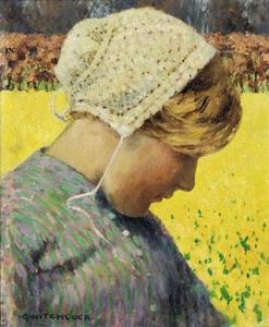 Dutch Girl Before a Daffodil Field