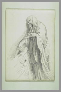 Femme voilée posant sa main droite sur la tête d'une autre femme agenouillée