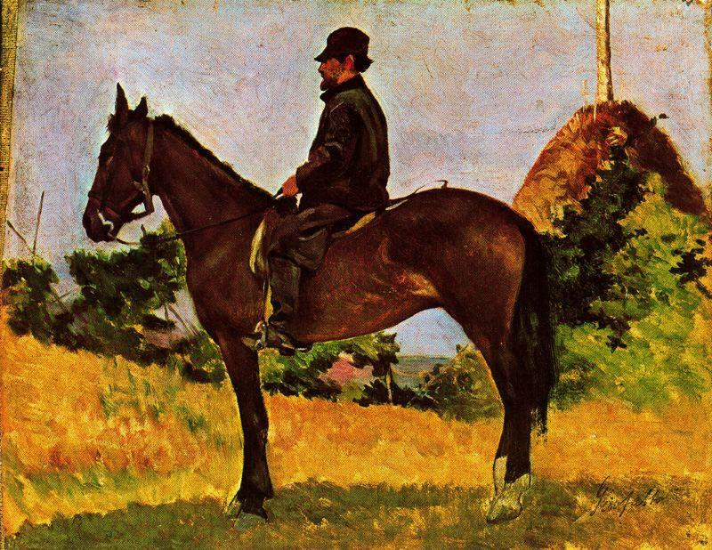 Wikioo.org - The Encyclopedia of Fine Arts - Painting, Artwork by Giovanni Fattori - Diego Martelli on horseback