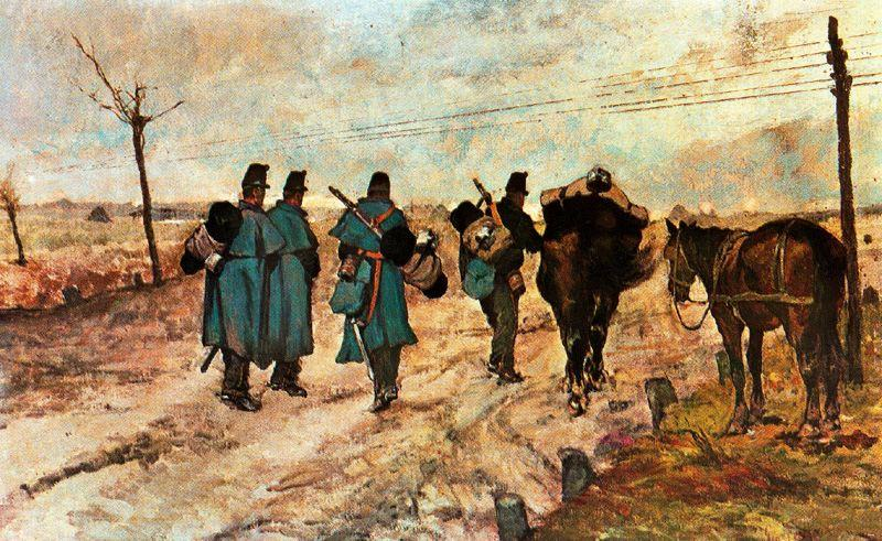 Wikioo.org - The Encyclopedia of Fine Arts - Painting, Artwork by Giovanni Fattori - Marching soldiers
