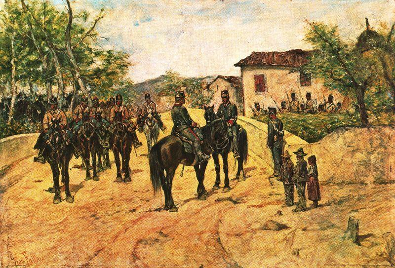 Wikioo.org - The Encyclopedia of Fine Arts - Painting, Artwork by Giovanni Fattori - Resting cavalry