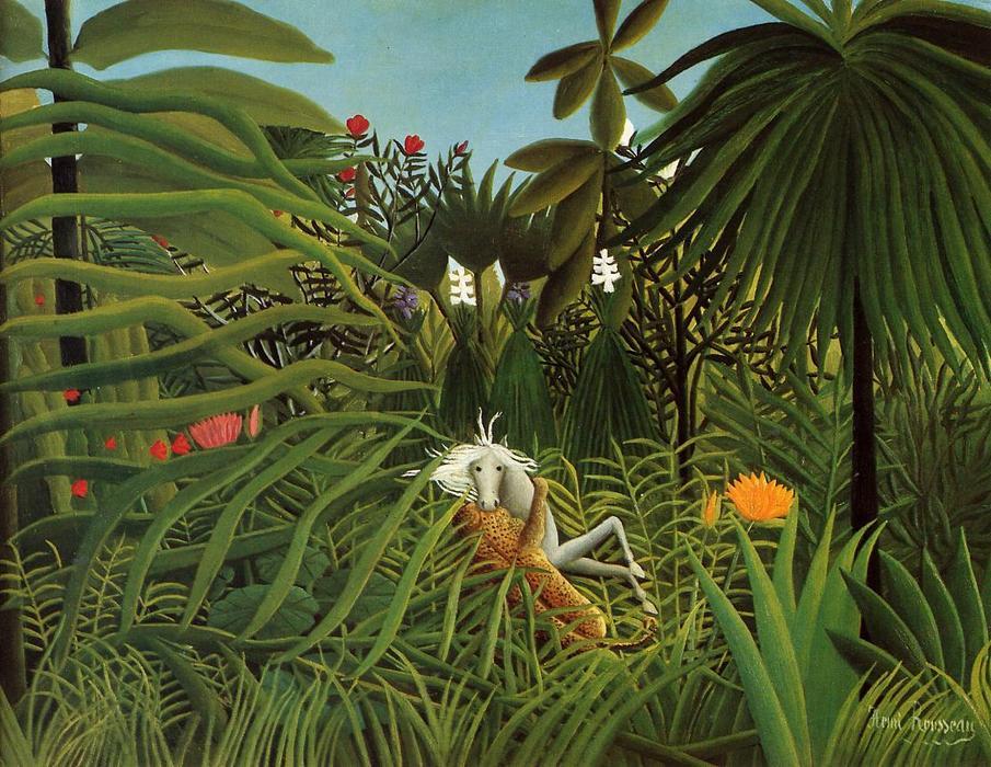 Wikioo.org - The Encyclopedia of Fine Arts - Painting, Artwork by Henri Julien Félix Rousseau (Le Douanier) - Horse Attacked by a Jaguar