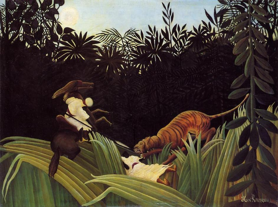 Wikioo.org - The Encyclopedia of Fine Arts - Painting, Artwork by Henri Emilien Rousseau - Scout Attacked by a Tiger