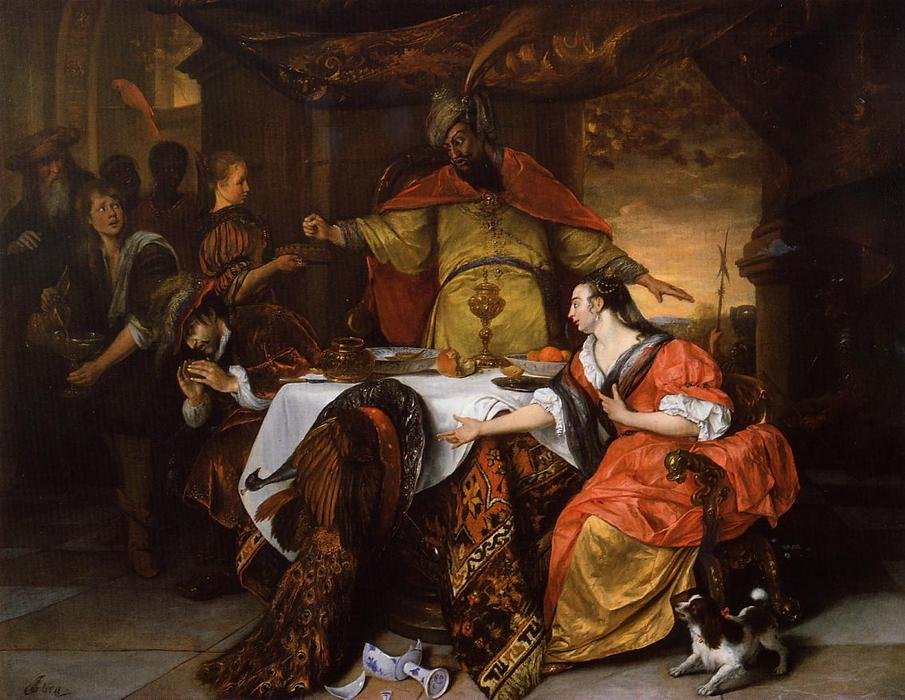 Wikioo.org - The Encyclopedia of Fine Arts - Painting, Artwork by Jan Steen - The Wrath of Ahasuerus