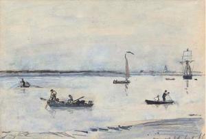 Boats on an estuary, Antwerp