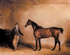 Mr. C. N. Hogg's Claxton and a Groom in a Stable