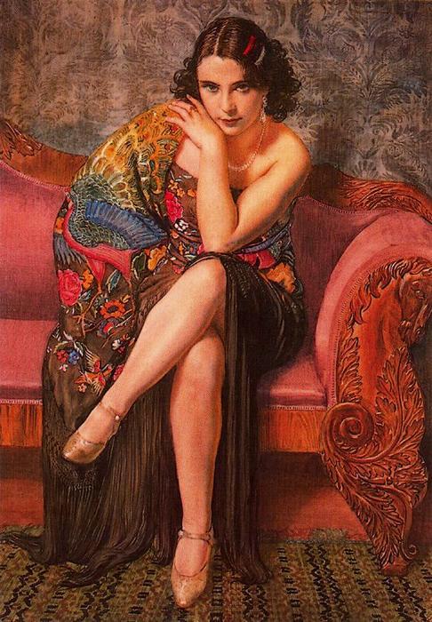 Wikioo.org – La Enciclopedia de las Bellas Artes - Pintura, Obras de arte de Jorge Apperley (George Owen Wynne Apperley) - Mantón de Manila pavo real