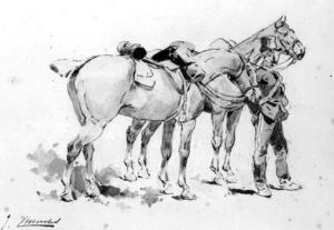 Soldiers With Two Horses