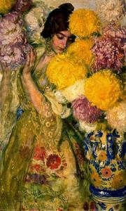 Valencian Girl With Chrysanthemums