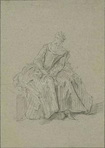 Seated women, in striped dress