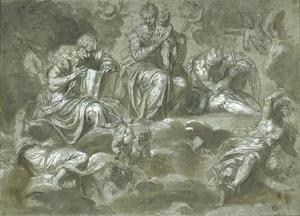 Virgin and Child in Glory, St. Peter, St. Paul, and angels
