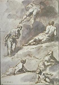 One man, four women and a child in various postures