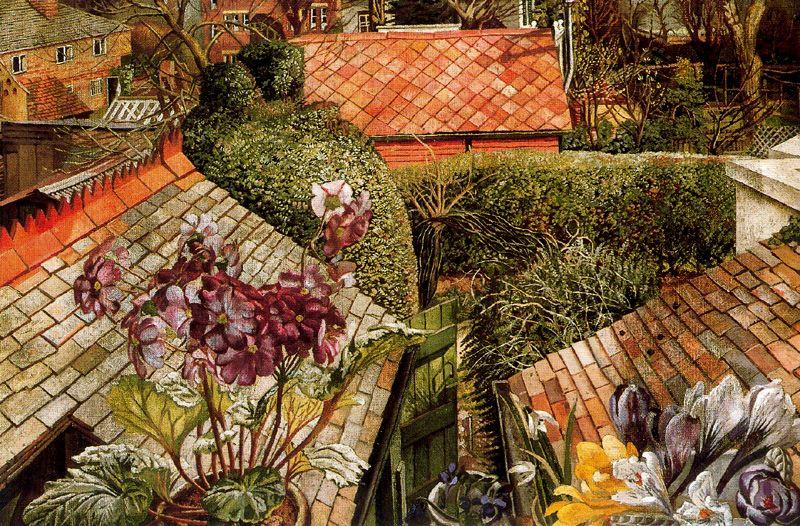 Wikioo.org - The Encyclopedia of Fine Arts - Painting, Artwork by Stanley Spencer - Cookham. Flowers in a Window