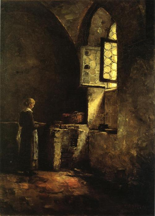 Wikioo.org - The Encyclopedia of Fine Arts - Painting, Artwork by Theodore Clement Steele - A Corner in the Old Kitchen of the Mittenheim Cloister