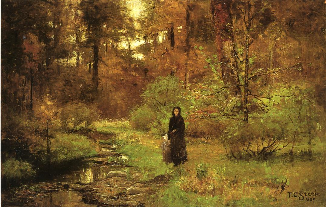 Wikioo.org - The Encyclopedia of Fine Arts - Painting, Artwork by Theodore Clement Steele - The Brook in the Woods