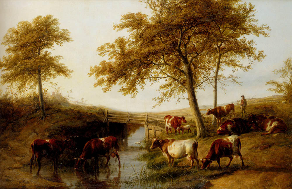 Wikioo.org - The Encyclopedia of Fine Arts - Painting, Artwork by Thomas Sidney Cooper - Cattle Resting By A Brook