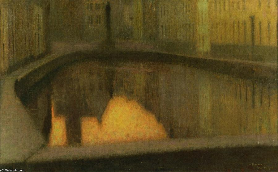 Wikioo.org - The Encyclopedia of Fine Arts - Painting, Artwork by Henri Eugène Augustin Le Sidaner - Canal in Bruges