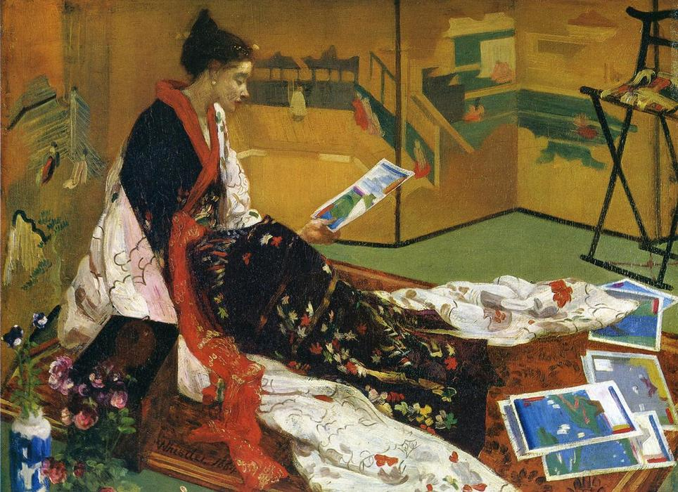 Wikioo.org - The Encyclopedia of Fine Arts - Painting, Artwork by James Abbott Mcneill Whistler - Caprice in Purple and Gold: The Golden Screen