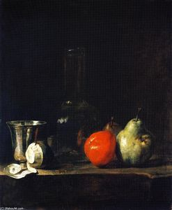 Carafe of Water, Silver Goblet, Peeled Lemon, Apple and Pears