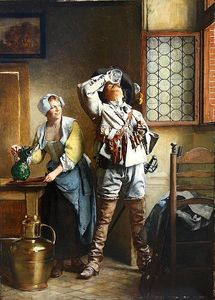 A Cavalier And Serving Wench In A Tavern Interior