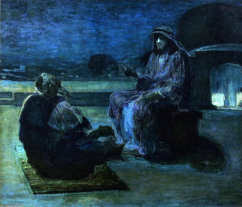 Wikioo.org - The Encyclopedia of Fine Arts - Painting, Artwork by Henry Ossawa Tanner - Christ and Nicodemus on a Rooftop (also known as Nicodemus Visiting Jefus)