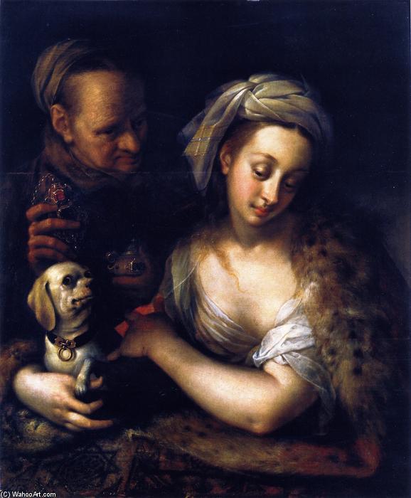 Wikioo.org – La Enciclopedia de las Bellas Artes - Pintura, Obras de arte de Hans Von Aachen - Una cortesana con Ella alcahueta
