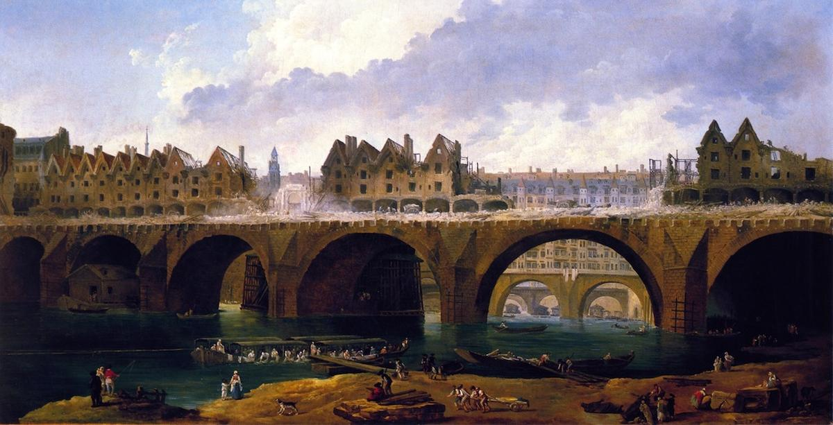 Wikioo.org - The Encyclopedia of Fine Arts - Painting, Artwork by Hubert Robert - Demilishing the Buildings on the Pont Notre-Dame in Paris, 1786