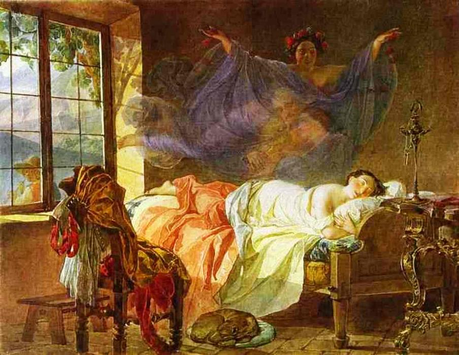 Wikioo.org - The Encyclopedia of Fine Arts - Painting, Artwork by Karl Pavlovich Brulloff - A Dream of a Girl Before a Sunrise