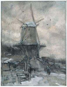 Een molen in de winter
