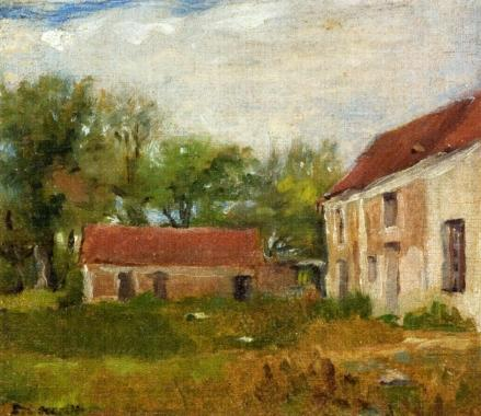 Wikioo.org - The Encyclopedia of Fine Arts - Painting, Artwork by Eva Gonzales - Farm at Rebais (Seine-et-Marne)