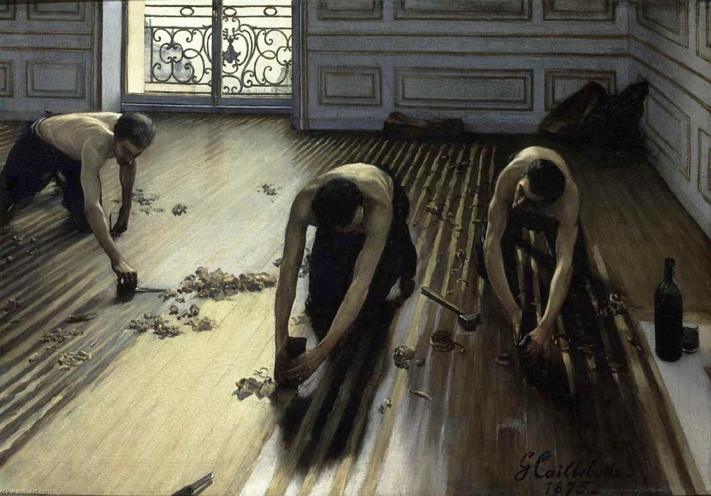 Wikioo.org - The Encyclopedia of Fine Arts - Painting, Artwork by Gustave Caillebotte - The Floor Scrapers (also known as The Floor Strippers)