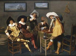 Gentlemen Smoking and Playing Backgammon in an Interior
