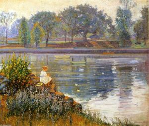 Girl Seated by a Pond