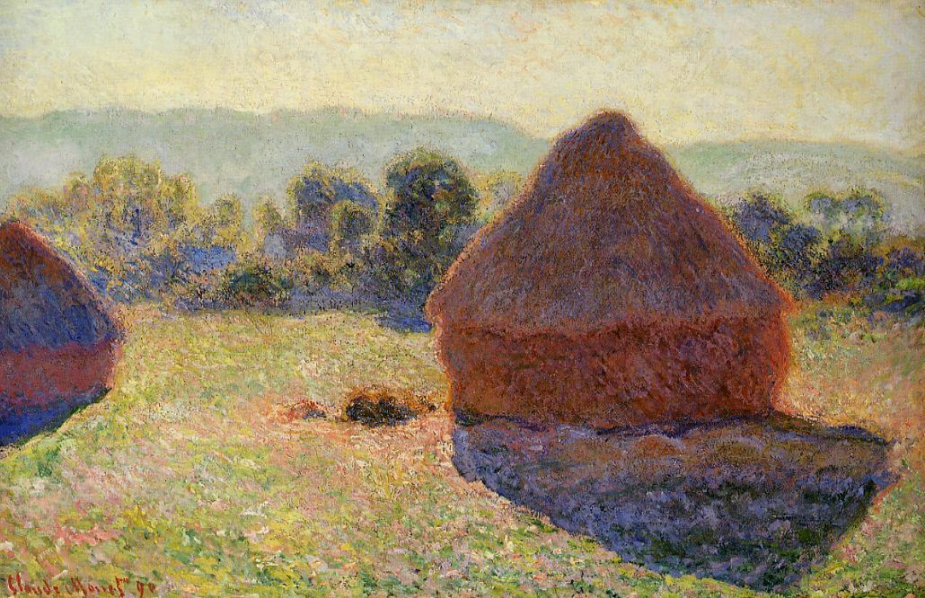 Grainstacks in the Sunlight, Midday - Claude Monet
